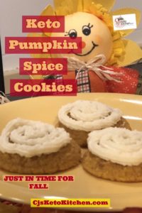 Keto Pumpkin Spice Cookies with Cream Cheese Frosting