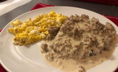 Keto Country Fried Steak with Sausage Gravy