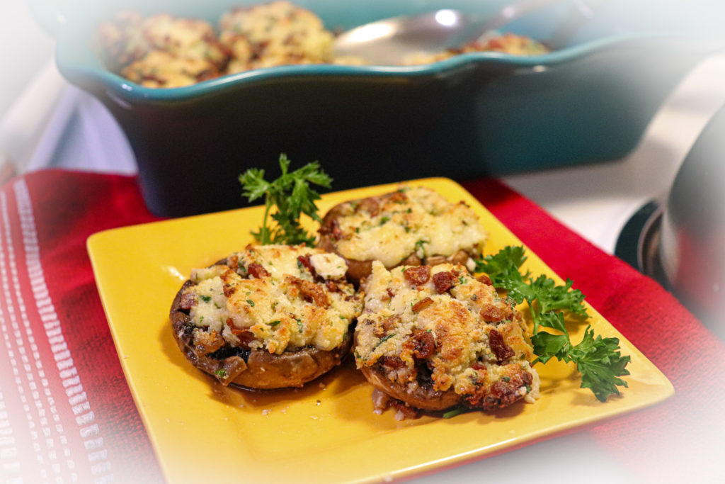 Bacon 3 Cheese Stuffed Mushrooms